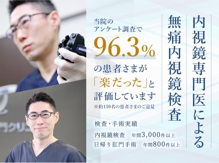 内視鏡専門医による 無痛内視鏡検査 当医院のアンケート調査で96.3%の患者さまが「楽だった」と評価しています※約150名の患者さまのご意見